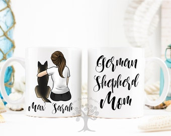 Personalized German Shepherd Mug, German Shepherd Mug, German Shepherd Mom Mug, Gift For Dog Mom, Gift For German Shepherd Lover. GSD Mom