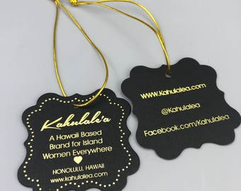 Custom elastic tags, elastic hang tag, hang tag elastic loops, elastic string hang tag