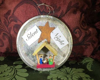 Vintage Tart Tin Nativity Wooden Ornament, Glitter, Silent Night