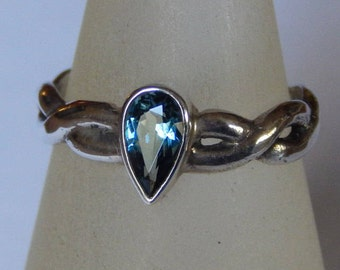 Aquamarine and Sterling Silver Ring, 3/4 ct.