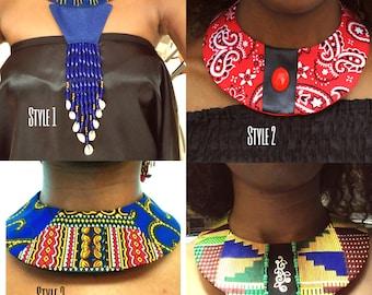 Handmade Fabric Dashiki Kente Ankara African Print Bandanna Fabric Bib Collar Necklace Neckwear - Fabric Cloth Necklaces One Size