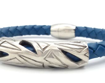Oslo - leather and steel Blue bracelet