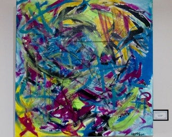 """Large Abstract Painting """"Splash Me"""""""