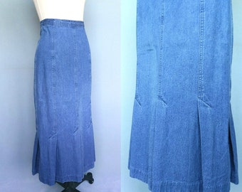abode / 1980s blue denim midi skirt with pleats / 6 8 small
