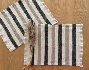 Set of 6 Linen Placemats | Home Decor | Washable Placemats | Set of 6 Linen Placemats | Striped Placemats | Rustic Placemats