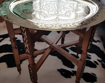 Moroccan Brass Tray/ Table