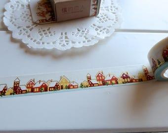 Christmas Winter Village Washi Tape, Christmas Scene Washi Tape, Winter Stickers (XM-127-CD)