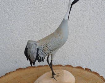 Bird sculpture of Common Crane - Grus grus - wood carved birds from shorebirdspl