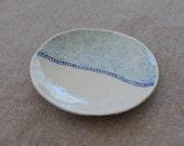 Porcelain Trinket Dish / Blue Dot Pattern / Handmade Ceramics / Ring Dish / Wall Plate / AnLouCreations