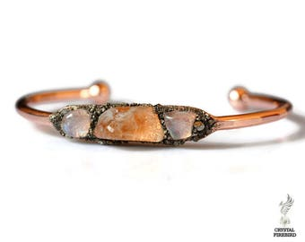 November Birthstone Bracelet - Raw Citrine Jewelry - Raw Gemstone Women's Bracelet - Citrine Bracelet - Moonstone Bracelet - June Birthstone