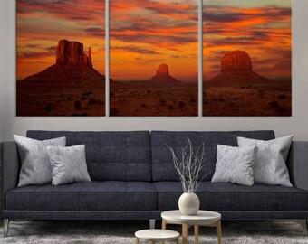 Large 3 Panels Nature Wall Art Canvas Print - Beautiful Natural Shapes at Sunset, Housewarming Gift, Canvas Art Print, Art Collectibles