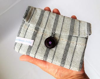 japanese style folded cotton pouch three interior pockets 16,5cm x 13,0cm hand woven black and white, small camera bag cotton by AtKathleens
