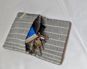 small camera bag cotton black white 17,0cm x 13,5cm, japanese folded pouch two interior pockets cotton, handkerchief bag folded handwoven