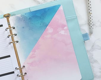 Watercolour Pocket Folder | Planner Pocket | Pocket Divider | Pocket Dashboard - A5