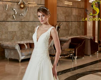 Simple Wedding Dress V neck Decollette Open Back A Line Bridal Gown