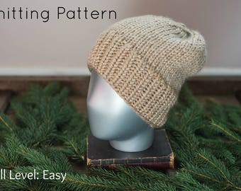 Easy Knitting Pattern | Thick Wool Beanie + Optional PomPom