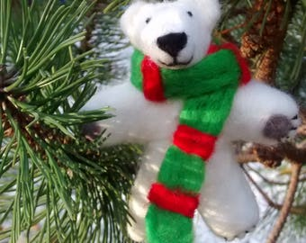 Christmas Felt Polar Bear  Decoration