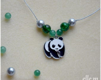 Necklace with pendant panda and imitation jade beads