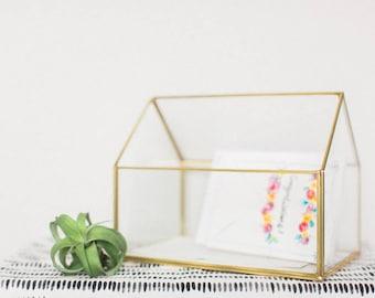 Wedding Card Box - Geometric Glass Card Box - Wedding Decorations - Gold Glass Card Box - Card Box - Glass House