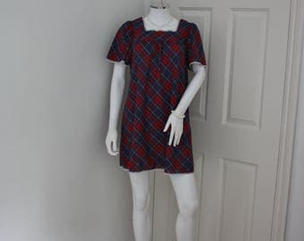 Tartan mini dress, 60's plaid dress, cotton nightie, 1960's fashion, short tartan dress, punk dress , Rockabilly dress