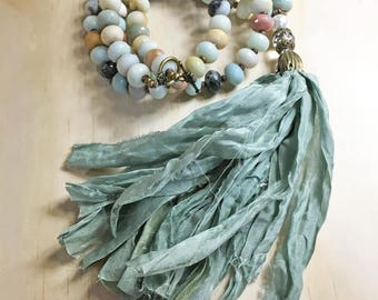 Amazonite Necklace, Amazonite Sari Silk Tassel Necklace, Amazonite Jewelry, Boho Necklace, Boho Jewelry, Necklaces for Women, Beach Necklace