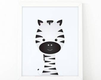 Zebra Print, kids wall Art Print, Instant download, Nursery print, Nursery Decor, animal printable, Animal Nursery Printable, illustration