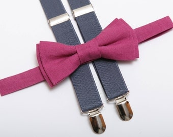 Fucsia Linen bow tie Gray Suspenders For men Wedding outfit Boys bow tie Bow tie Suspenders Ring bearer outfit Wedding attire Bowtie