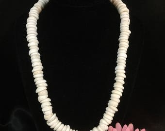 "Puka Shell Necklace Estate Hawaiian Large White Pukas 20"" 106gm"