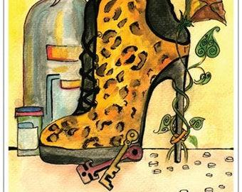 "Original Art Postcard (""Heel"")"