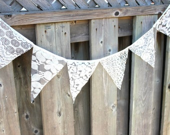 "10'5"" -  3.2m Flags Lace Vintage Party Birthday Wedding Pennant Bunting Banner Decor"