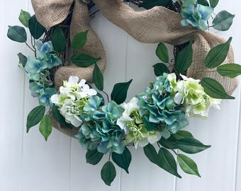 Blue  Watercolor Hydrangea Wreath