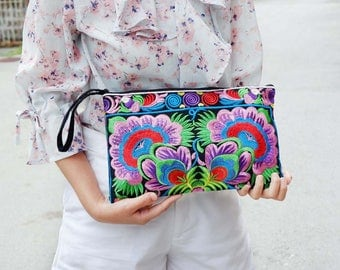 Colorful Clutch With Embroidered Fabric Hmong Style