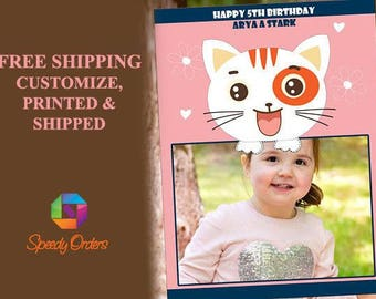 Large Kitty Birthday Photo booth props, Cat birthday Party Photo booth, Kitty Cat Birthday, Cat decorations, cat photo booth props;10011134