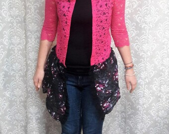 Pink Lace Jacket, Upcycled jacket, Feminine lace jacket, Eco friendly pink and black jacket