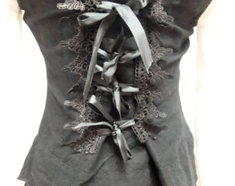 Black Linen Lace Up Victorian Vest