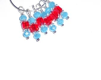 6PC. Baby Blue and Reddish Orange AB Austrian Crystal Bead Dangle Charm// AB Crystal Dangle Charms//Adorned with  Silver Tone Plated Accents