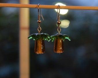 Lampwork Glass Palm Tree Earrings