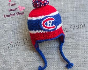 c7ae0fb91943 Canadiens de Montréal au crochet pour bébé chapeau, bébé canadien de  Montréal de hockey chapeau