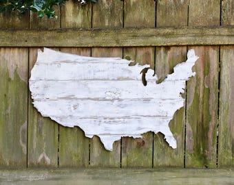 Large USA Wood Wall Art, Rustic Wooden America, USA Outline, Boys Room, Kids Room, Boy's Nursery, Wood USA Map, Free Shipping