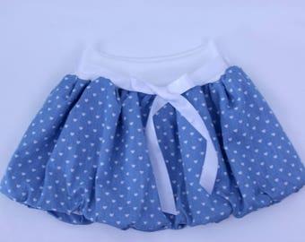 Denim bubble skirt for girls, baby skirt, toddler skirt, summer skirt, blue skirt, elastic waist skirt, mummy and me, cotton skirt