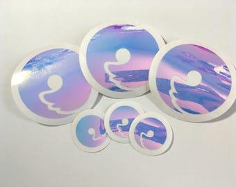 "Holographic Vinyl Curlworks Shiba Tail Vinyl Sticker in 1"" & 2"""