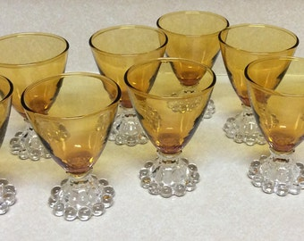 Anchor Hocking Candlewick Amber Boopie Footed Liquor/Shot Glasses Set Of 9