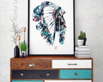 American Native Indian Feather Headdress Art Print Photo poster  Wll art large poster print watercolour print digital printable artwork