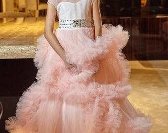 Blush Flower Girl Dress, Tull Dress, Ringstone Dress, Birthday Pink Party Dress, Wedding Flower Girl, Christening Dress, Bridesmaid Dress