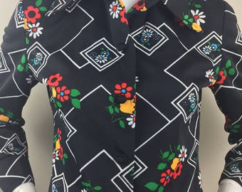 Vintage Black Top with Floral Print and Geometric Pattern/Union Made Tags/Size Large