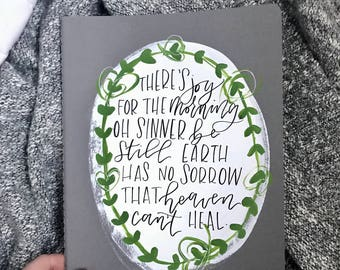 handpainted journal, modern calligraphy-- Joy for the Morning