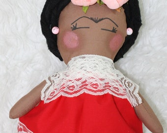 Frida doll, ethnic doll, cloth doll, muñeca frida, muñeca de tela