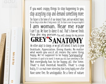 Greys Anatomy Print , Meredith Grey , Grey's anatomy gift, You're my person, Greys anatomy print, Greys anatomy poster, Greys anatomy quote