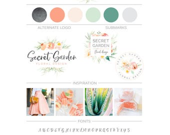 Watercolor Floral Branding Package, Photography Logo and Watermark, Flowers Frame Logo Wreath Logo Premade Marketing Kit, Event Planner Logo
