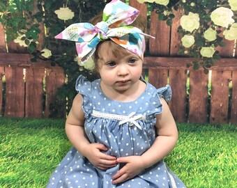 Bunny Headwrap- Bunny Headband; Bunny Bow; Headwrap; Easter Headband; Easter Headwrap; Easter Bow; Head Wrap; Mommy and Me Headbands; Bows